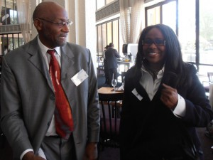 Dr. Harvey White of University of Pittsburgh and Dr. Mary Bruce of Governor's State University at the conference