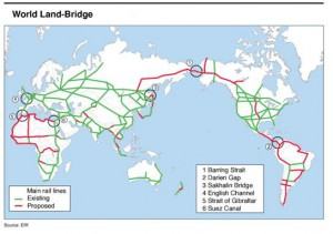 "MAIN LINES OF WORLDWIDE RAIL NETWORK-A GLOBAL LANDBRIDGE Proposed by Mrs. Helga Zepp LaRouche in the EIR Special Report: ""The Eurasian Land-Bridge; The New 'Silk Road'-locomotive for worldwide economic development."" (January 1997)"