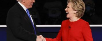 Copyright 2016 The Associated Press. All rights reserved. This material may not be published, broadcast, rewritten or redistributed without permission. Mandatory Credit: Photo by John Locher/AP/REX/Shutterstock (6021024h) Republican presidential nominee Donald Trump shakes hands with Democratic presidential nominee Hillary Clinton after the presidential debate at Hofstra University in Hempstead, N.Y Presidential Debate, Hempstead, New York, USA - 26 Sep 2016