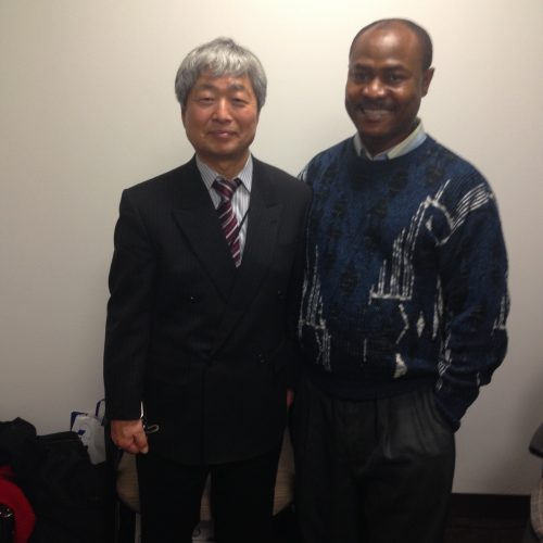 Visiting Prof. Hatori of Keio University, Japan at CMPI office in NYC. Dr. Uchenna Ekwo, CMPI President received him and shared ideas. Prof Hatori was at CMPI to assess the performance of his student Hiroto Sawada who is currently doing his internship at CMPI in New York